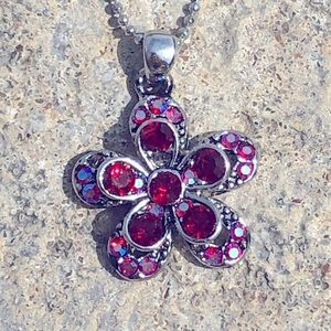 Necklace: Red and Pink AB Flower Pendant